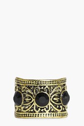 Boohoo Emily 3 Stone Boho Antique Look Ring Gold