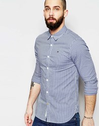 Tommy Hilfiger Hilfiger Denim Shirt In Gingham With Stretch In Slim Fit Blue
