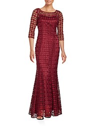 Kay Unger Solid Three Quarter Sleeve Lace Gown Flame