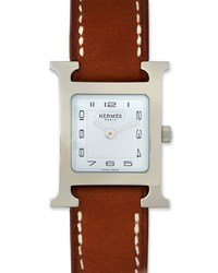 Herm S Heure H Pm Watch With Barenia Leather Strap