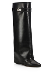 Givenchy Shark Lock Knee High Leather Wedge Boots Black Dark Brown