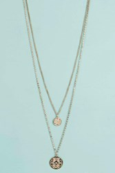 Boohoo Double Chain Layered Necklace Rose Gold