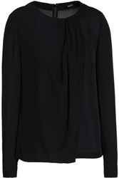 Raoul Draped Silk Crepe De Chine Blouse Black