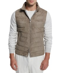 Brunello Cucinelli Suede Full Zip Quilted Vest Gray Men's Size 50 M Grey
