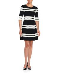 Eliza J Elbow Sleeve Striped Fit And Flare Dress Black Ivory