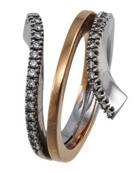 Damiani Eden Two Tone Gold Diamond Coil Ring Size 7
