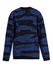 Raey Oversized Space Dyed Wool Sweater Blue Multi