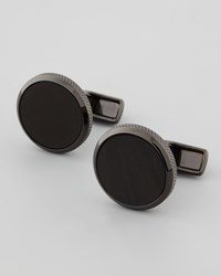 Dunhill Round Jet Stone Cuff Links
