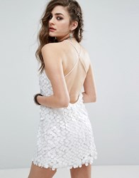 Motel Cami Dress With Open Cross Back In Disc Sequin White
