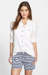 Petite Women's Halogen Long Sleeve Chambray Shirt Cream Cloud