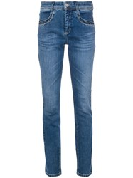 Cambio Studded Pocket Slim Fit Jeans Blue