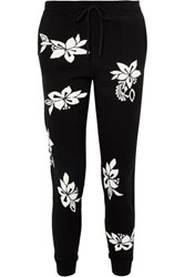 Chinti And Parker Hibiscus Cashmere Track Pants Black
