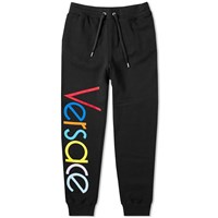 Versace Logo Embroidered Multicolour Sweat Pant Black