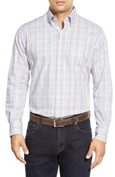 Peter Millar 'Madrona' Classic Fit Check Long Sleeve Sport Shirt Tall Rust