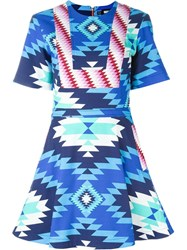 House Of Holland Aztec Print Flared Dress Multicolour