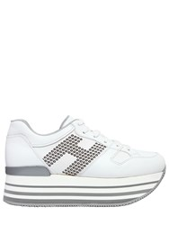 Hogan 70Mm Maxi 222 Studded Leather Sneakers White