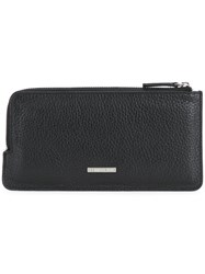 Cerruti 1881 Zip Pouch Men Calf Leather One Size Black