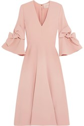 Roksanda Ilincic Sibella Bow Detailed Crepe Midi Dress Blush