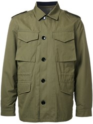 Kent And Curwen Detachable Quilted Military Jacket Green