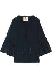 Figue Poet Ruffle Trimmed Brushed Silk Blouse Navy