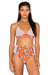 Minkpink Floating In The Tropics Bikini Top Red