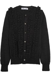 Comme Des Garcons Ruffled Wool Cardigan Charcoal