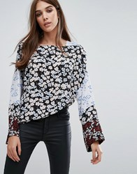 Warehouse Floral Fluted Sleeve Blouse Multi