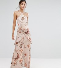 Hope And Ivy Printed Satin Maxi Dress With Cutaway Neck Detail Nude Print Multi