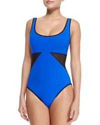 Karla Colletto Scoop Neck Underwire Swimsuit W Geo Panels Black Cobalt Cobalt Black
