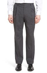 Berle Men's Pleated Solid Wool Trousers Grey