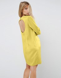 Asos Mini Dress With Open Back Chartreuse Gold
