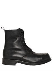 Alexander Mcqueen Metal Toe Leather Combat Boots