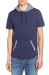 Men's The Rail Short Sleeve French Terry Hoodie Navy Peacoat