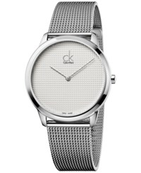 Calvin Klein Men's Minimal Swiss Stainless Steel Mesh Bracelet Watch 40Mm K3m2112y Silver