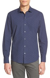 Zachary Prell 'Travis' Regular Fit Long Sleeve Dobby Sport Shirt Navy