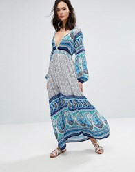 Raga Love Spell Printed Plunge Maxi Dress Turquoise Blue