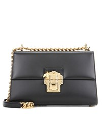 Dolce And Gabbana Lucia Medium Leather Shoulder Bag Black