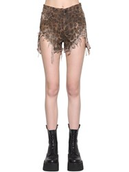 R 13 Shredded Leopard Printed Slouch Shorts