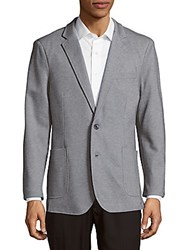 Saks Fifth Avenue Black Textured Long Sleeve Jacket Grey