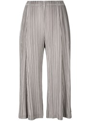 Issey Miyake Pleats Please By Pleated Cropped Trousers Women Polyester 2 Grey