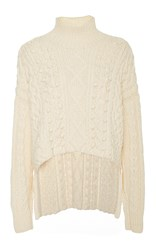 Marisa Witkin Ivory Open Sleeve Cableknit Sweater