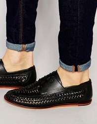 Pull And Bear Pullandbear Woven Leather Loafers In Black Black