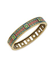 Heidi Daus Daily Double Swarovski Crystal And Multicolored Rhinestone Bangle Bracelet Gold Multi