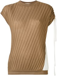 Marni Ribbed Asymmetric Top Women Silk Cotton 40 Brown