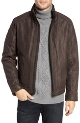 Michael Kors Men's Faux Shearling Lined Leather Jacket Dark Brown