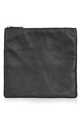 Topshop Canoton Leather Clean Clutch Black