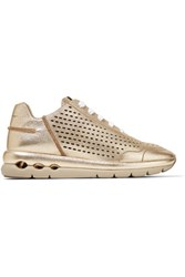 Salvatore Ferragamo Metallic Laser Cut And Textured Leather Sneakers Gold