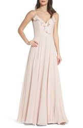 Hayley Paige Occasions 'S Ruffle Chiffon Gown Blush Cashmere