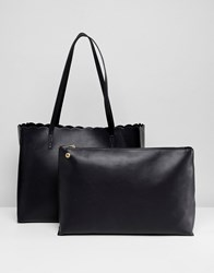 Asos Design Scallop Shopper Bag With Removable Clutch Black