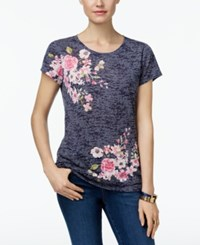 Inc International Concepts Floral Print Burnout T Shirt Only At Macy's Drifting Roses